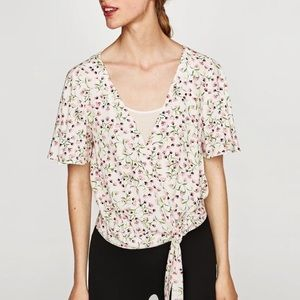 Zara Floral Wrap Blouse with Waist Tie size L NWT
